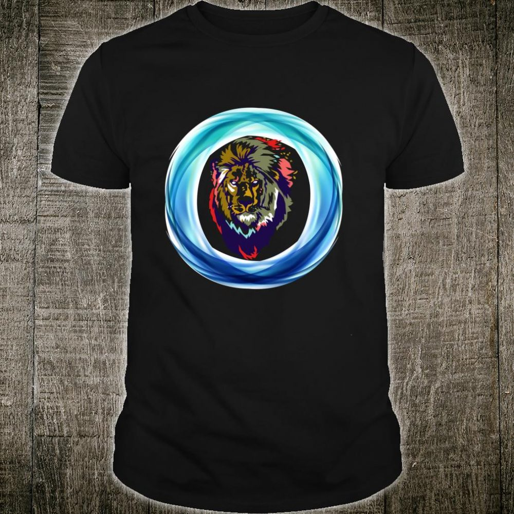 Shirt With Lion Face Lion Head Circle colorful Shirt