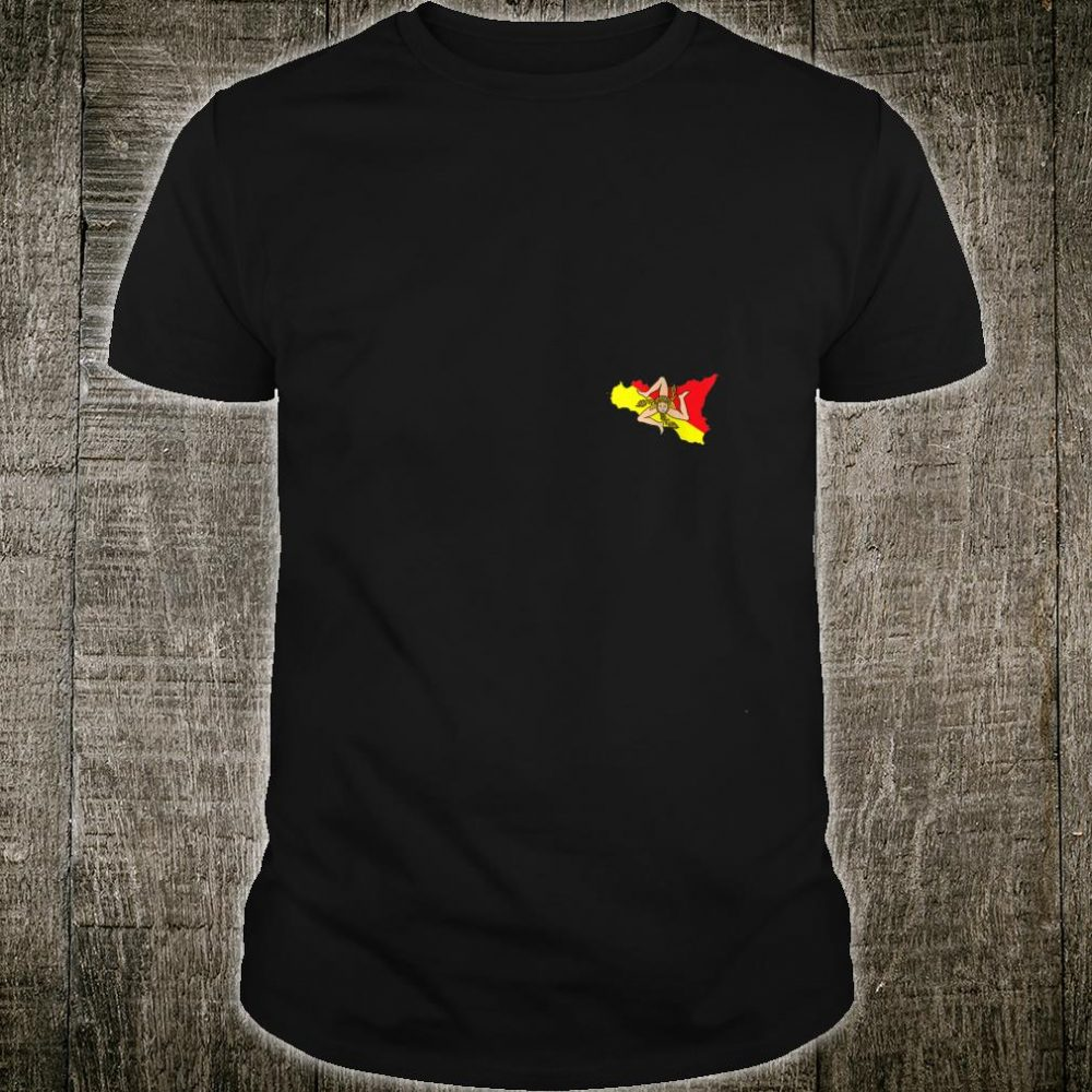 Sicilian Map and Flag Chest Logo Sicily Souvenir Shirt