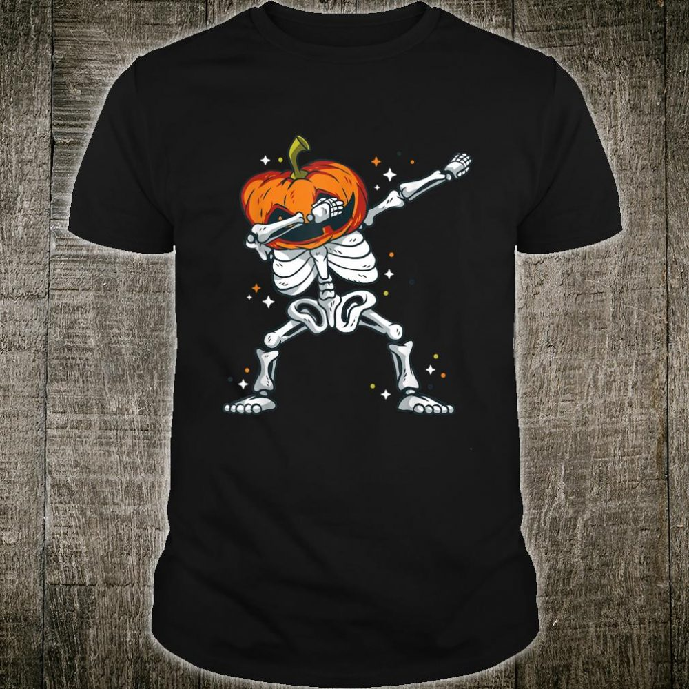 Skeleton with a pumpkin head doing the dab dance Shirt
