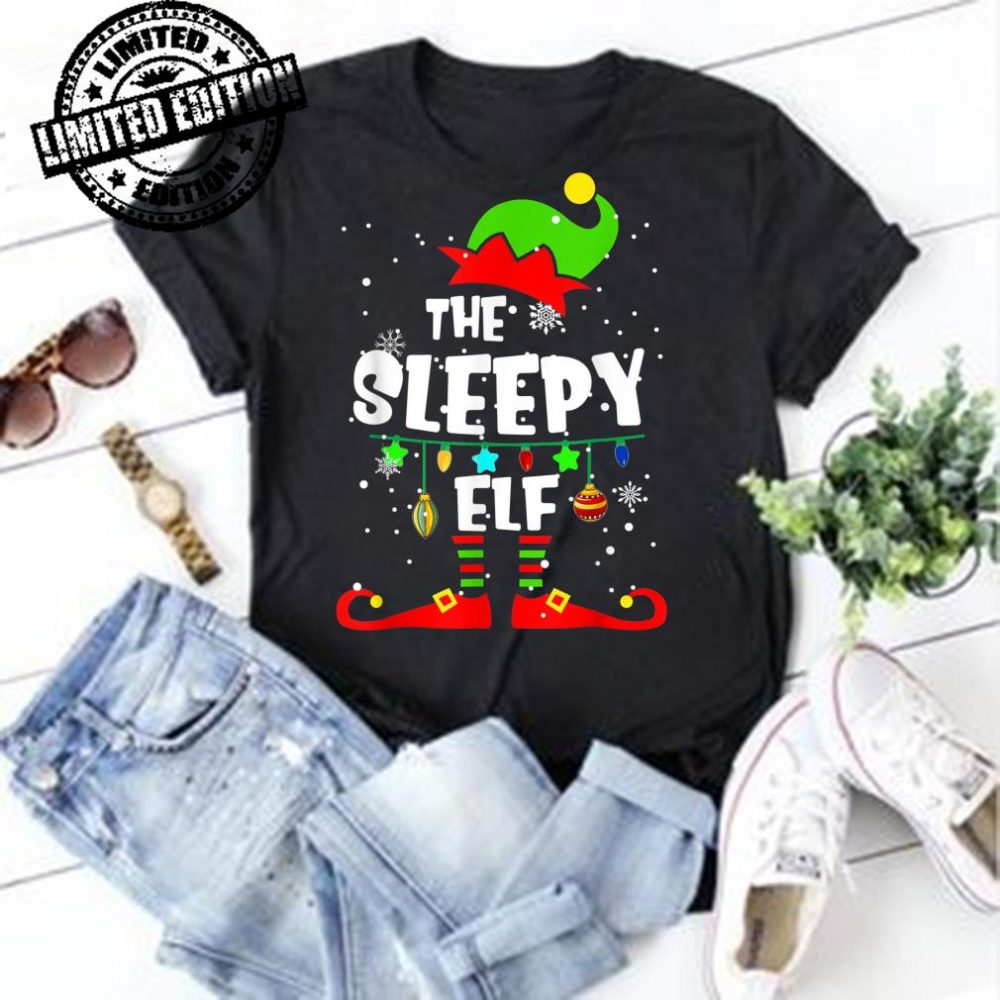 Sleepy Elf Matching Family Group Christmas Party Pajama shirt