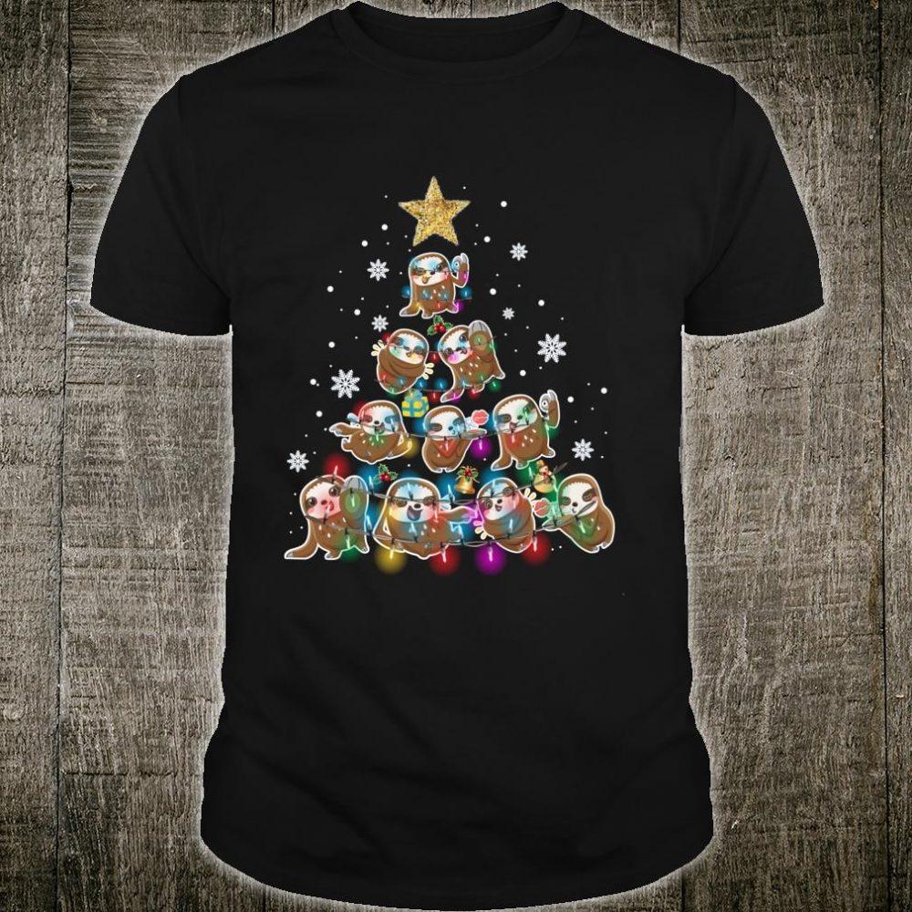Sloth Christmas Shirt Sloth Tree Xmas Pajama Boys Girl Shirt