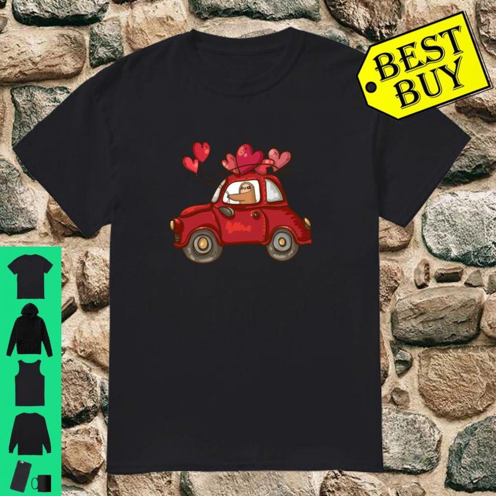 Sloth Heart Valentines Day Car Love Ballon Sloth Valentine's Shirt