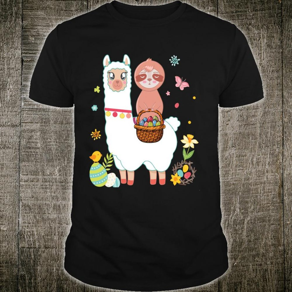 Sloth Llama Egg Cute Easter Shirt