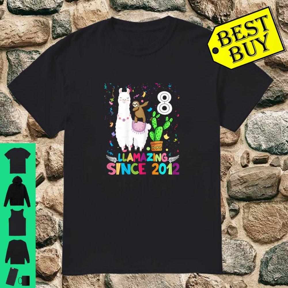 Sloth Riding Llama 8th Birthday Since 2012 8 Yrs Old Shirt