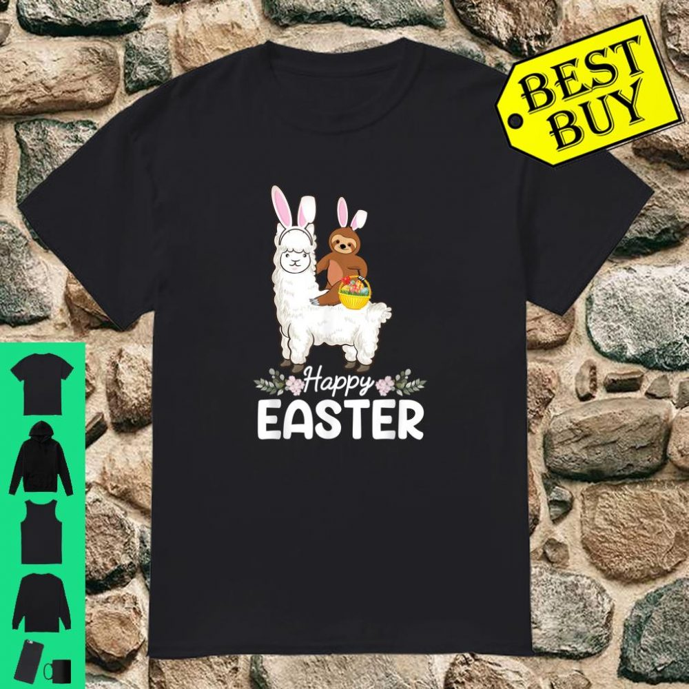Sloth Riding Llama Cute Sloth with Eggs Easter day Shirt