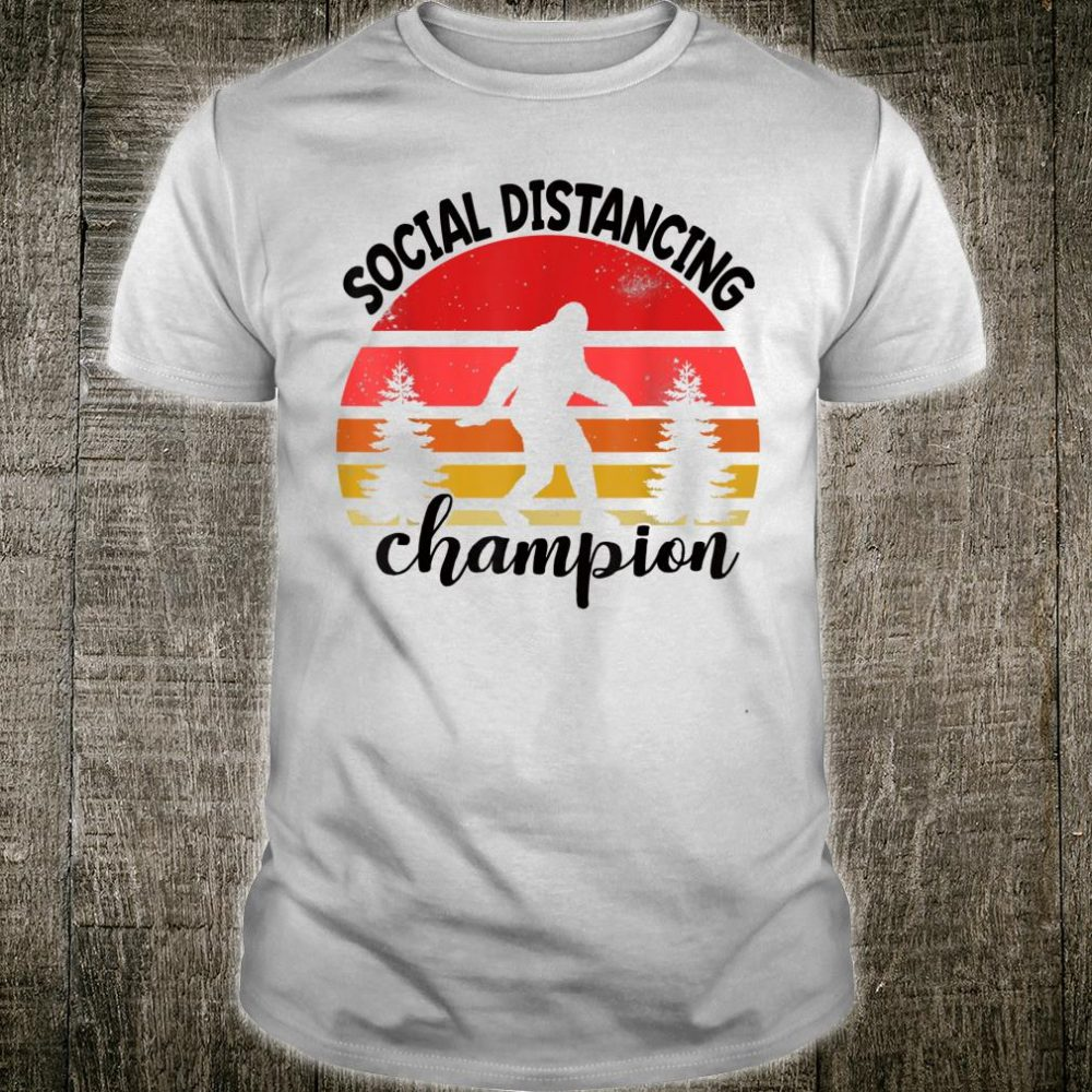 Social Distancing Champion Shirt BigFoot Retro Camping Shirt