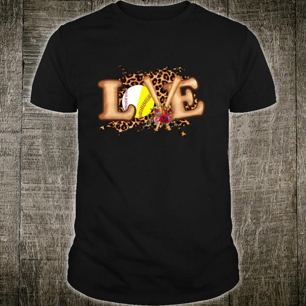 Softball Baseball Love Leopard Girls Mom Mother's Day Shirt