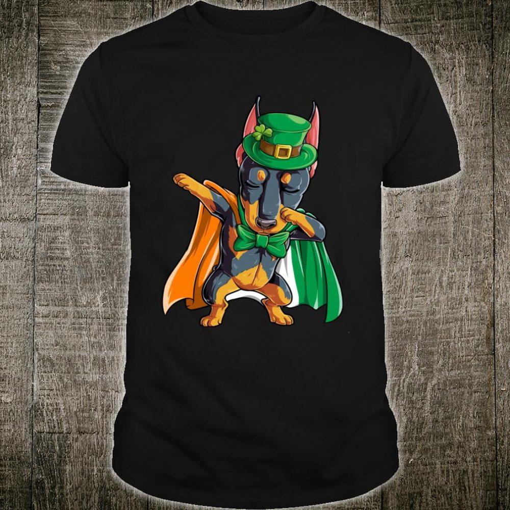 St Patricks Day Dabbing Doberman Boys Irish Flag Shirt