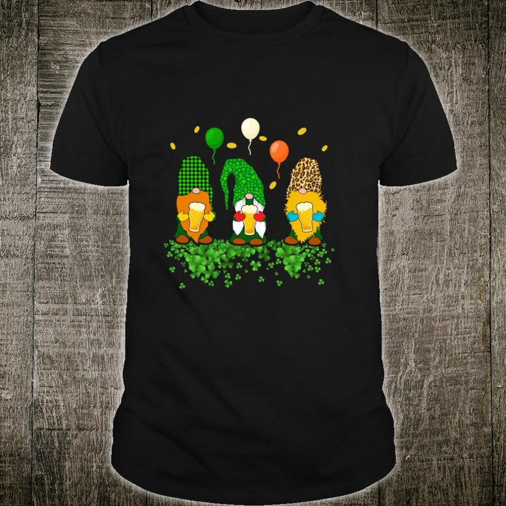 St Patricks Day Gnomes Beer Irish Leopard Plaid Drinking Shirt