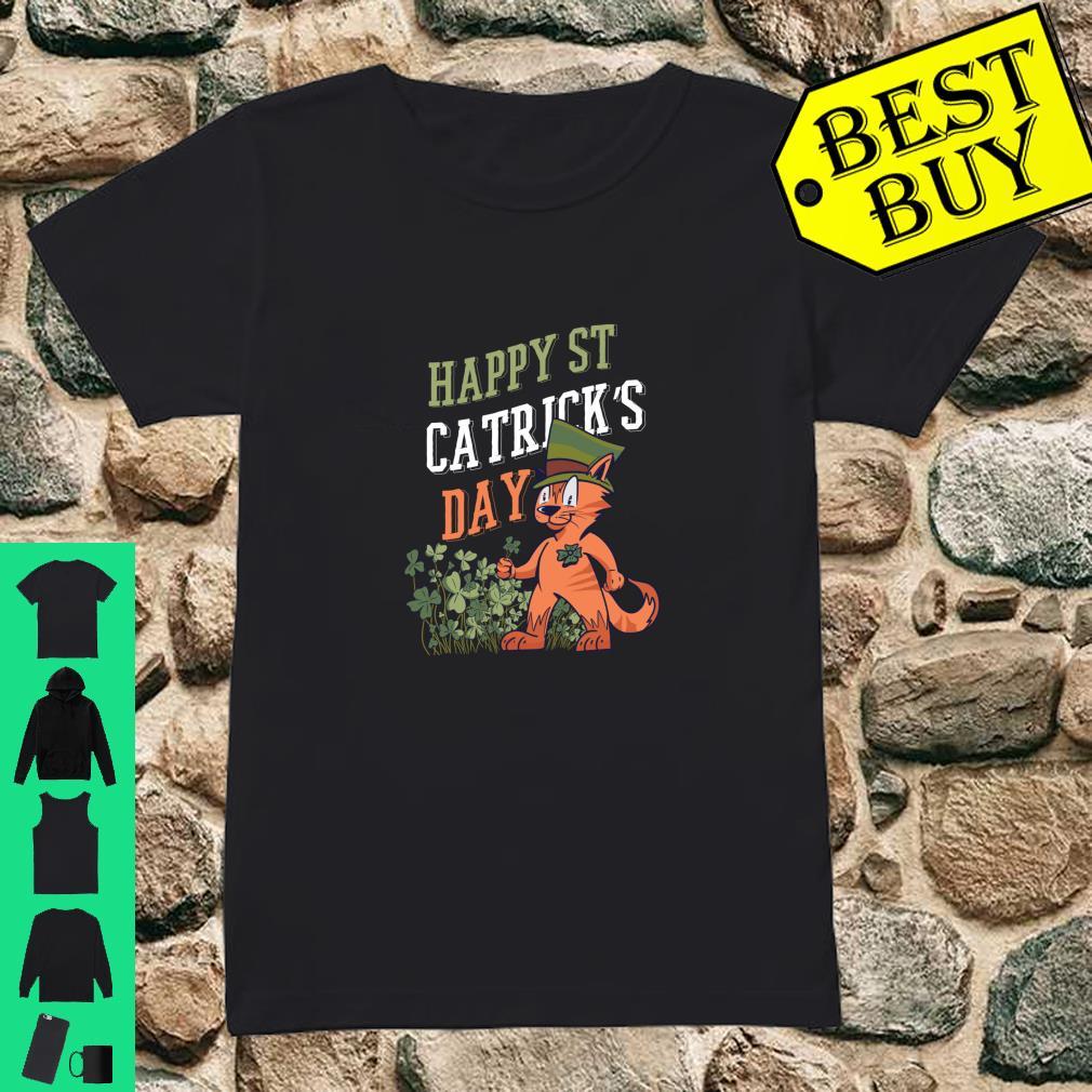 St. Patricks Day Catrick's Cat Shamrock Clover Leprechaun Shirt ladies tee
