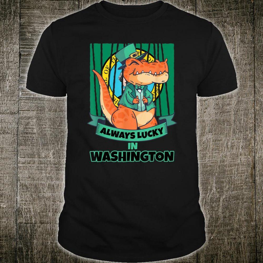 State of Washington Washingtonian Irish T Rex Always Lucky Shirt