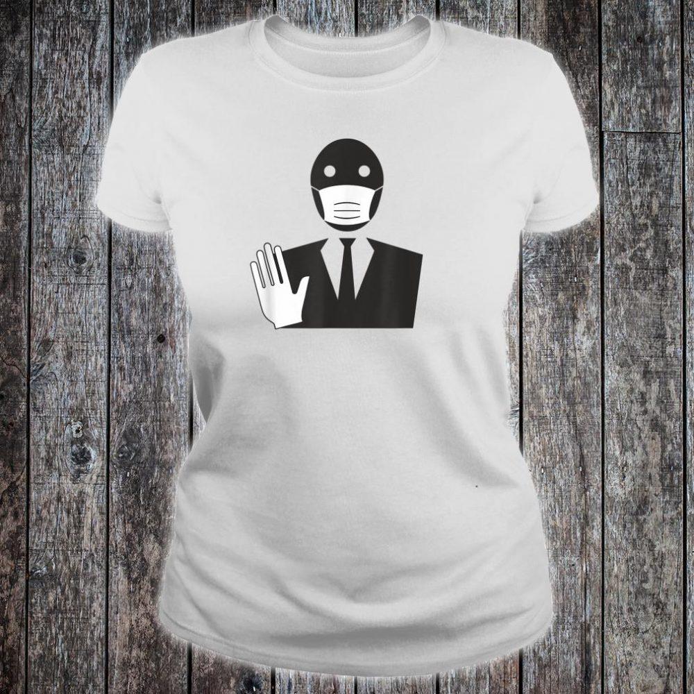 Stop The Spread Virus Masked Man In Suit Quarantine Shirt ladies tee
