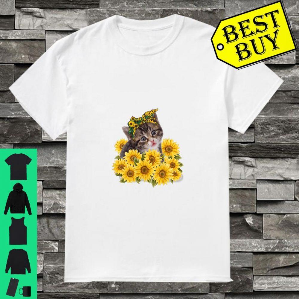 Sunflower Cat Cute Kitten Gift for Girls Women Shirt