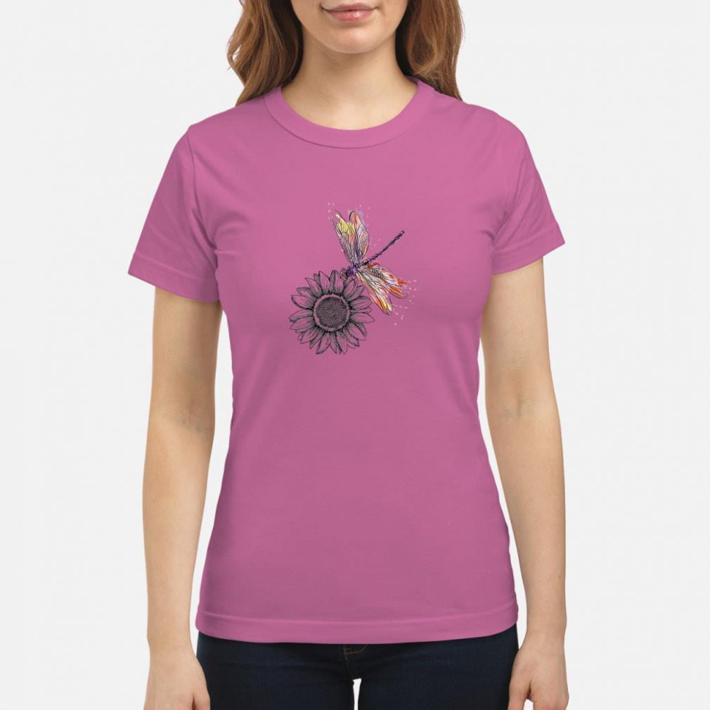 Sunflower and dragonfly shirt ladies tee