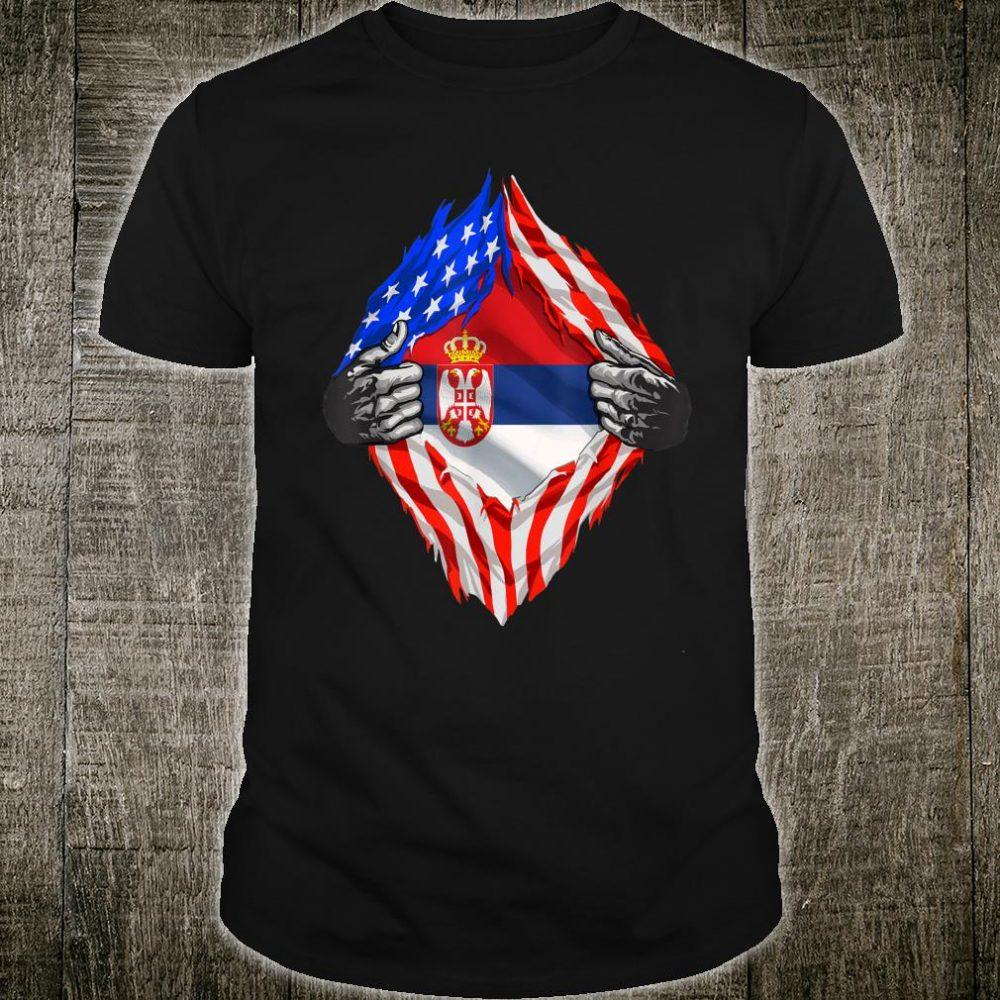 Super Serbian Heritage Serbia Roots USA Flag Shirt