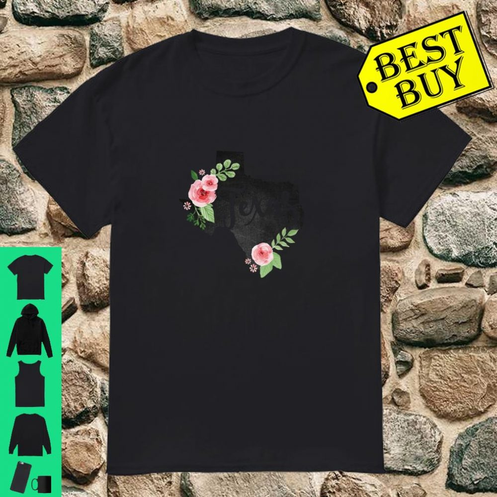 Texas Chalkboard Watercolor Flowers Home State shirt