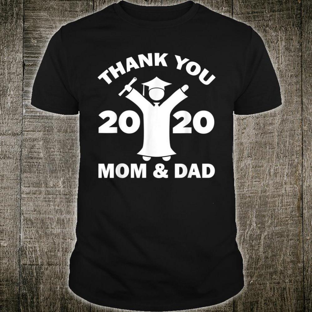 Thank You Mom And Dad Cheering Senior 2020 Graduating Shirt