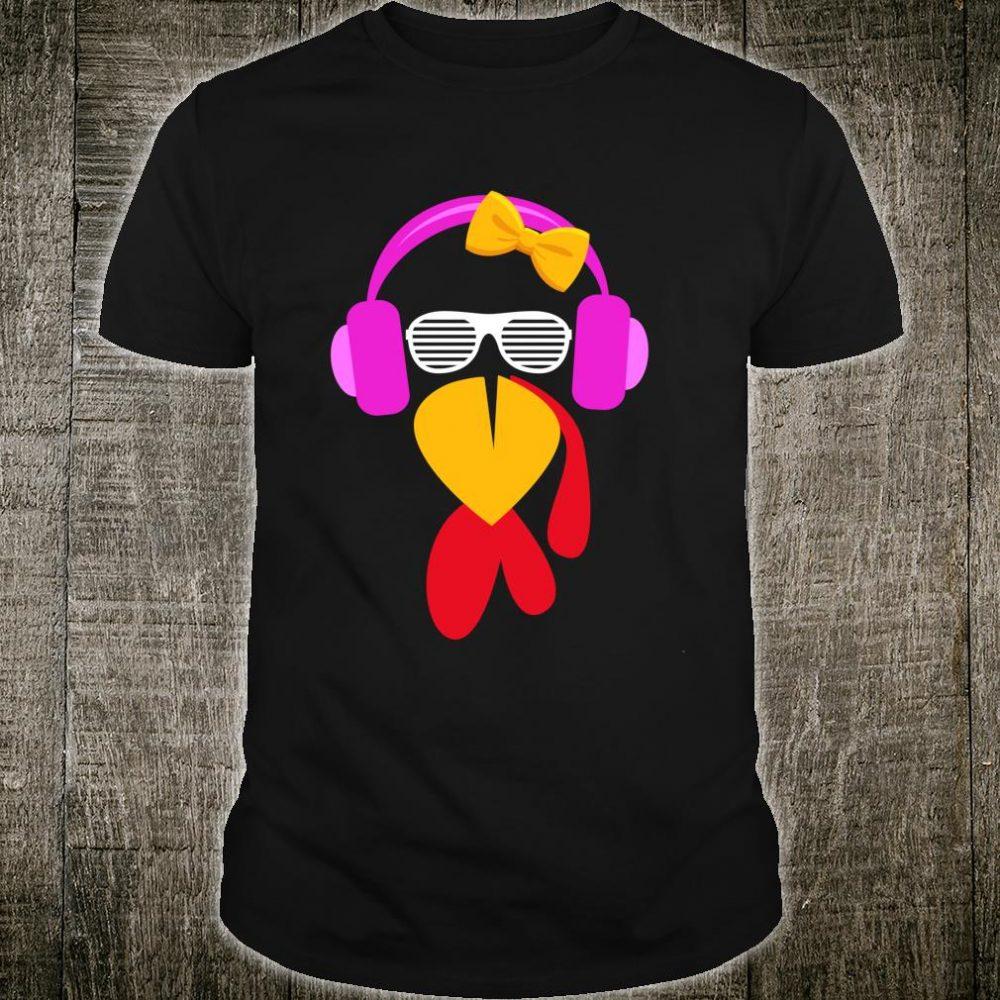 Thanksgiving Turkey Face Trot Running Cute Girls Bow Shirt