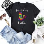 Tie Dye Cat Peace Love Cats Tie Dyed Style Kitty Cat Lover shirt