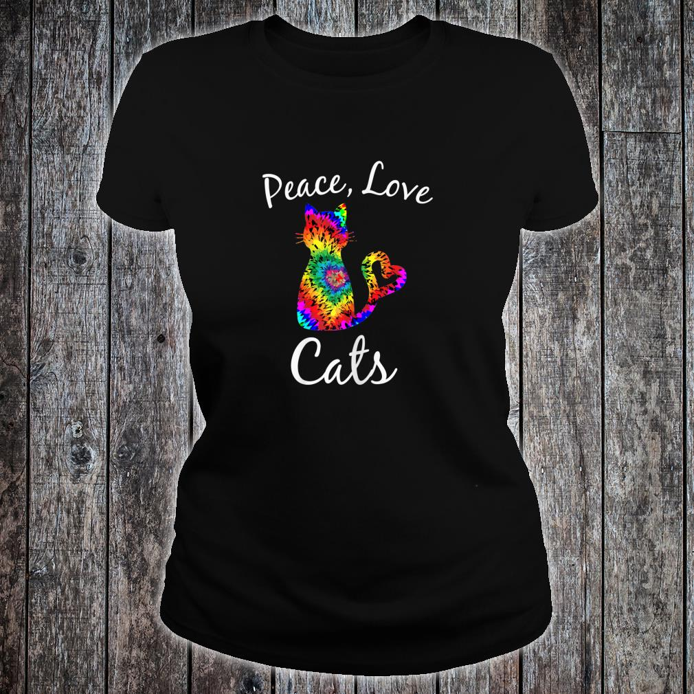 Tie Dye Cat Peace Love Cats Tie Dyed Style Kitty Cat Lover shirt ladies tee