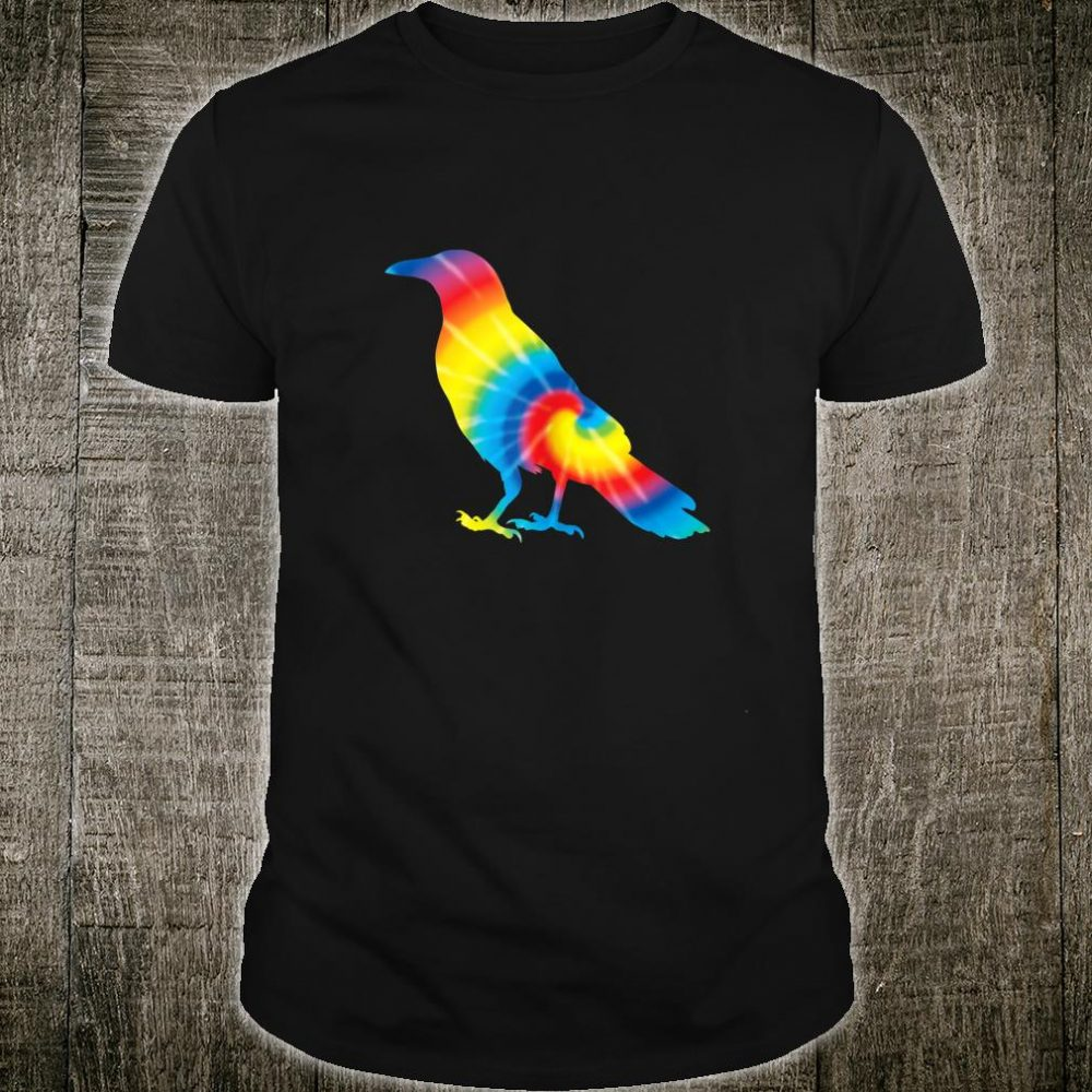 Tie Dye Magpie Rainbow Print Bird Animal Hippie Peace Shirt