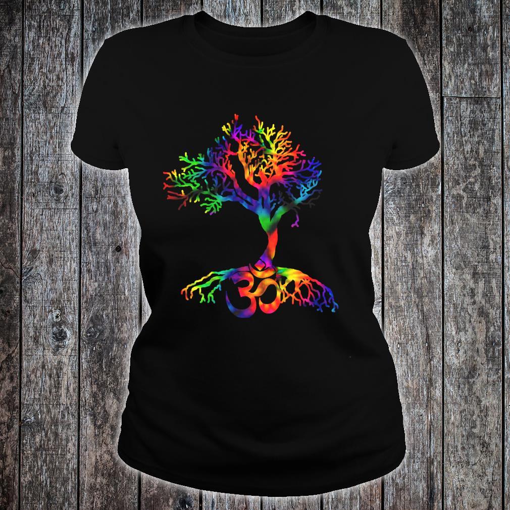 Tie Dye Style Tree of Life with Om symbol Shirt ladies tee