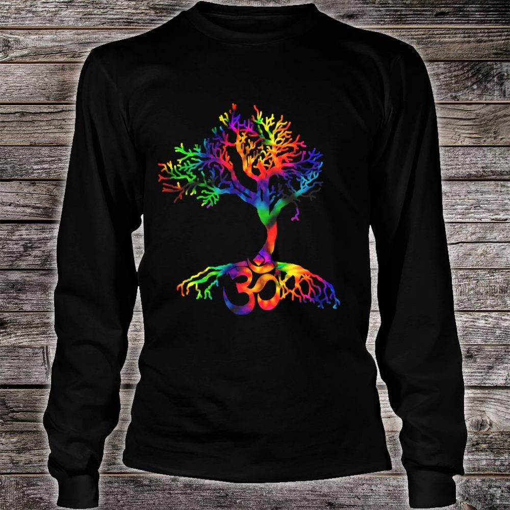 Tie Dye Style Tree of Life with Om symbol Shirt long sleeved