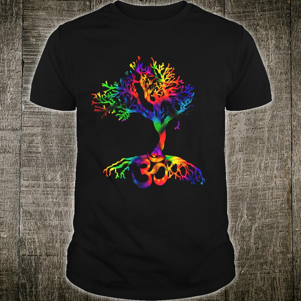 Tie Dye Style Tree of Life with Om symbol Shirt