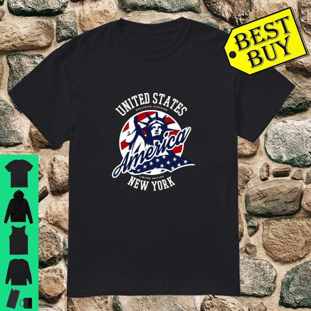 Trendy USA Flag and Statue of Liberty Shirt