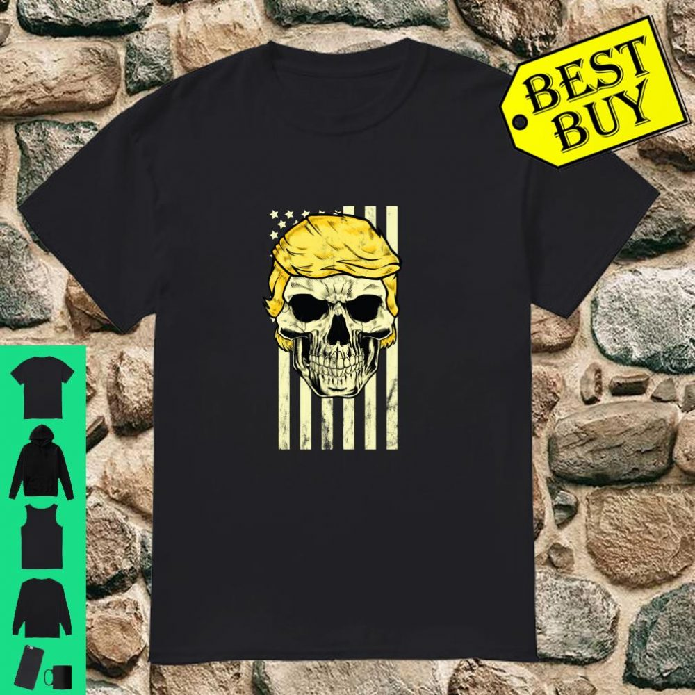 Trump Skull USA Flag Hair 2020 Campaign Rally Distressed Shirt