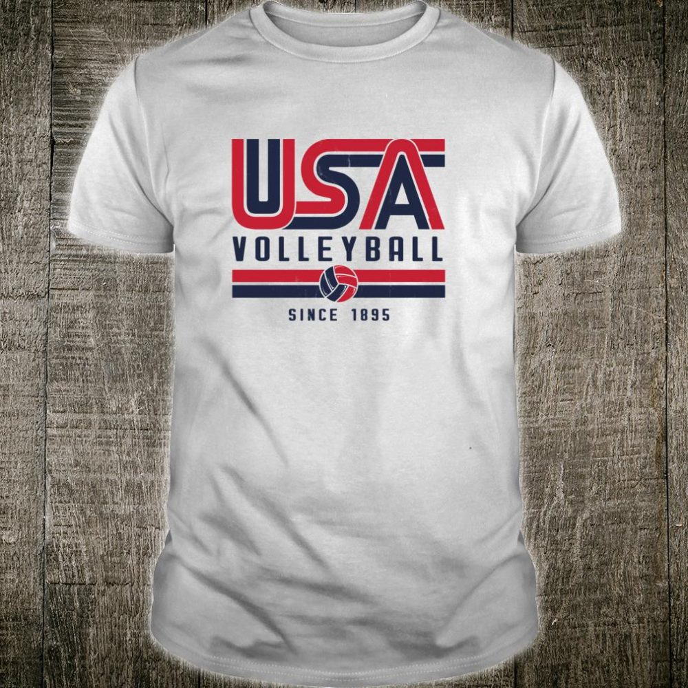 USA Distressed Effect Classic Volleyball design Red and blue Shirt