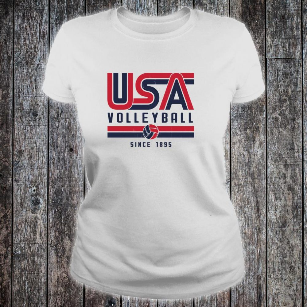 USA Distressed Effect Classic Volleyball design Red and blue Shirt ladies tee