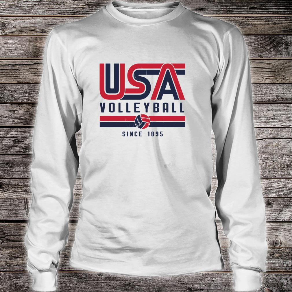 USA Distressed Effect Classic Volleyball design Red and blue Shirt long sleeved