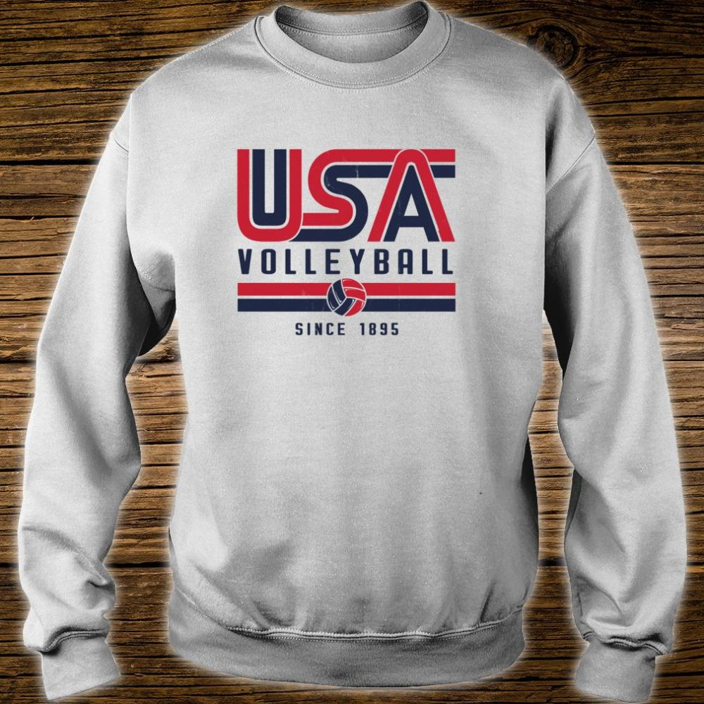 USA Distressed Effect Classic Volleyball design Red and blue Shirt sweater