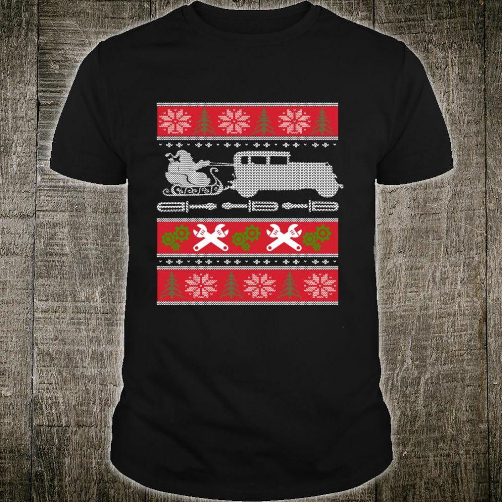 Ugly Christmas Santa Riding a Classic Car Xmas Shirt