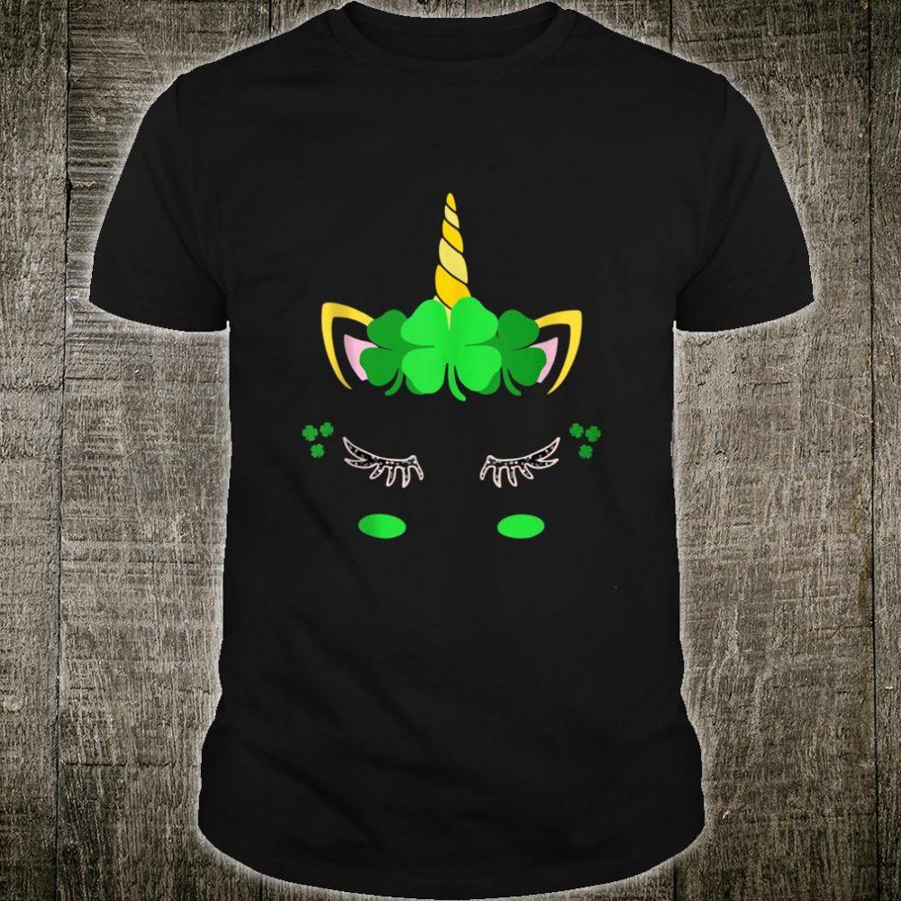 Unicorn Face St Patrick's Day Irish Girls Shirt