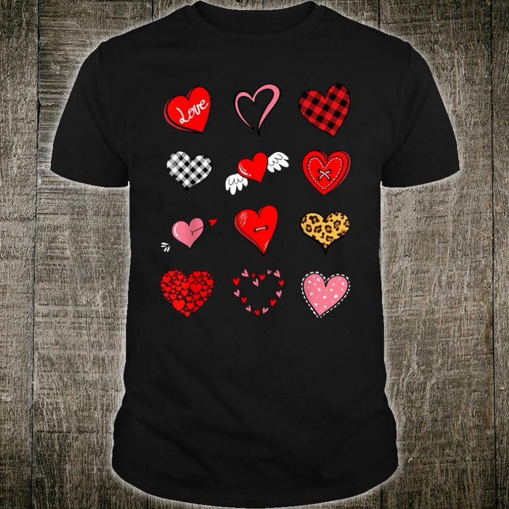 Valentines Day Shirt for Girls Leopard Buffalo Plaid Hearts Shirt
