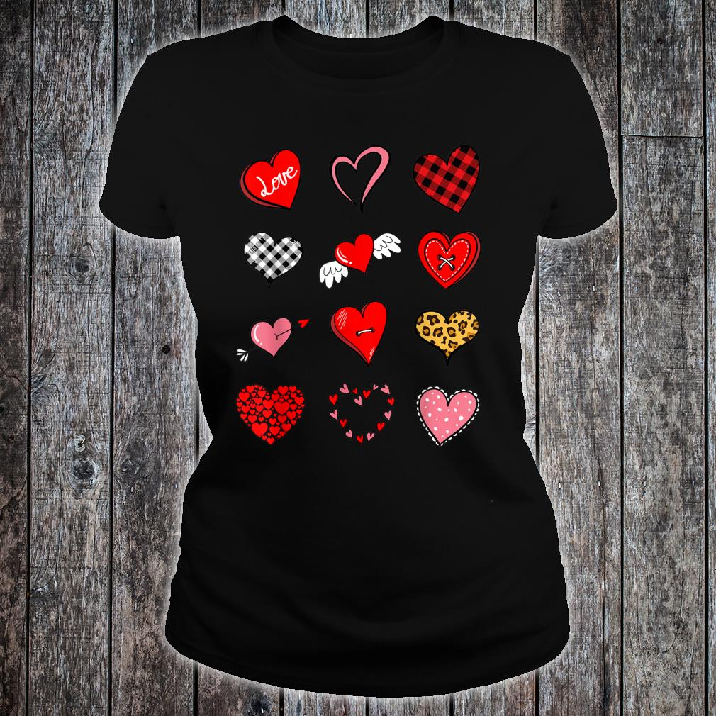 Valentines Day Shirt for Girls Leopard Buffalo Plaid Hearts Shirt ladies tee