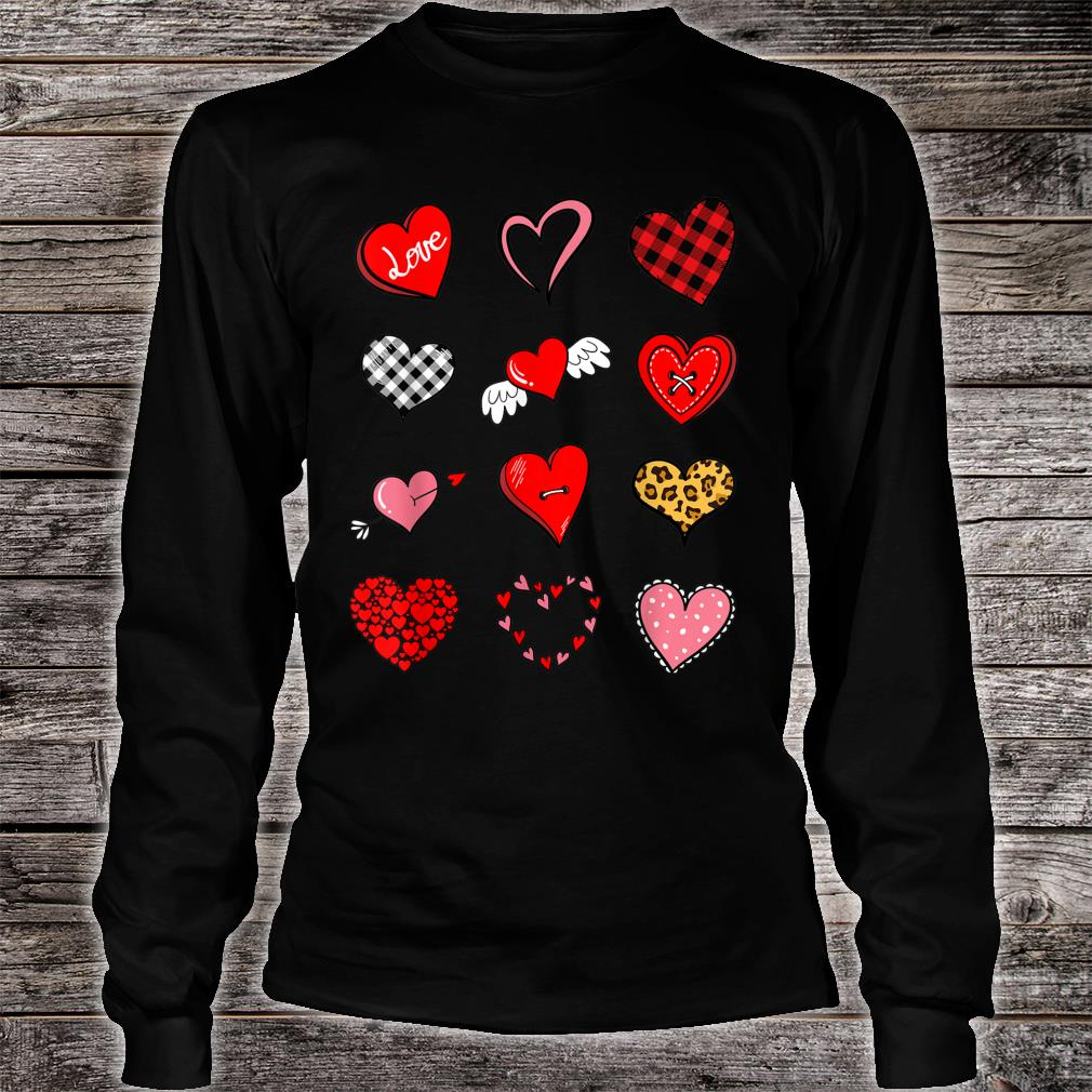 Valentines Day Shirt for Girls Leopard Buffalo Plaid Hearts Shirt long sleeved