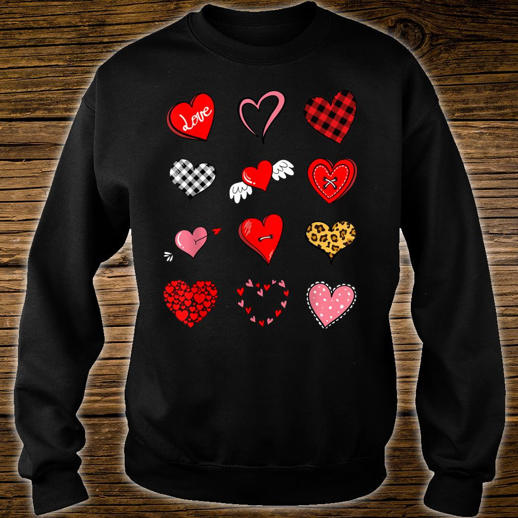 Valentines Day Shirt for Girls Leopard Buffalo Plaid Hearts Shirt sweater