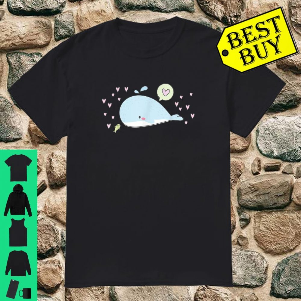 Valentine's Day Whale and Baby Fish with I Love You Heart Shirt