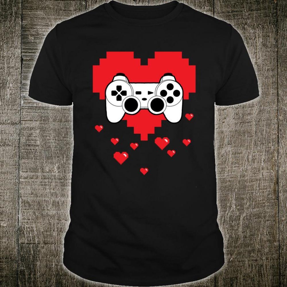 Video Game Controller Heart Valentines Day Gamers Shirt