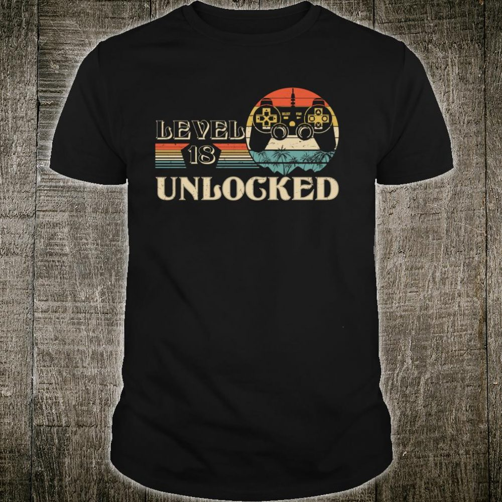 Video Game Youth adults 18th Birthday Level 18 Unlocked Shirt