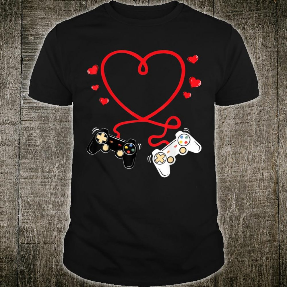Video Gamer Heart Controllers Valentines Day Boys Girls Shirt