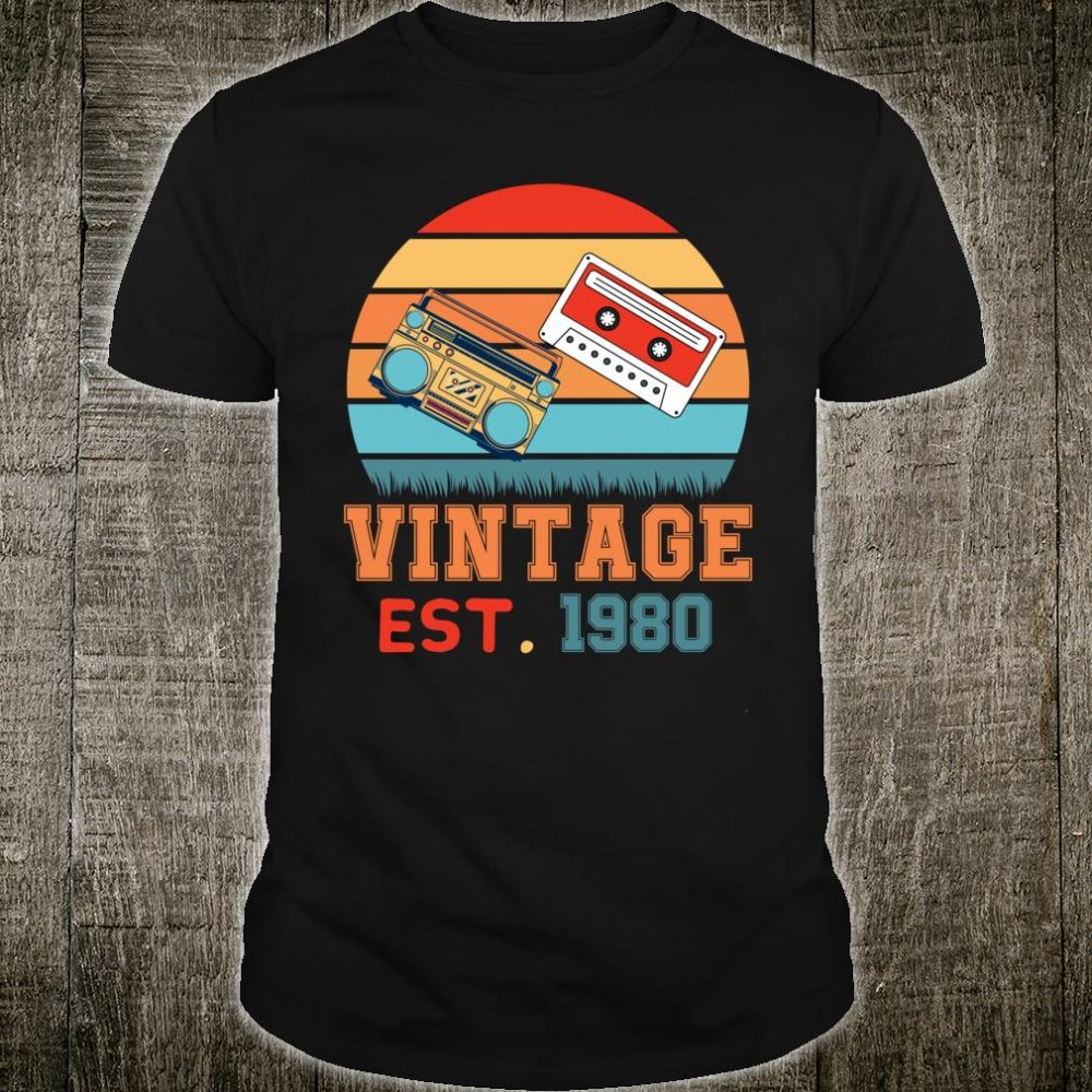 Vintage 1980 Retro 40th Birthday Cassette and Stereo Player Shirt