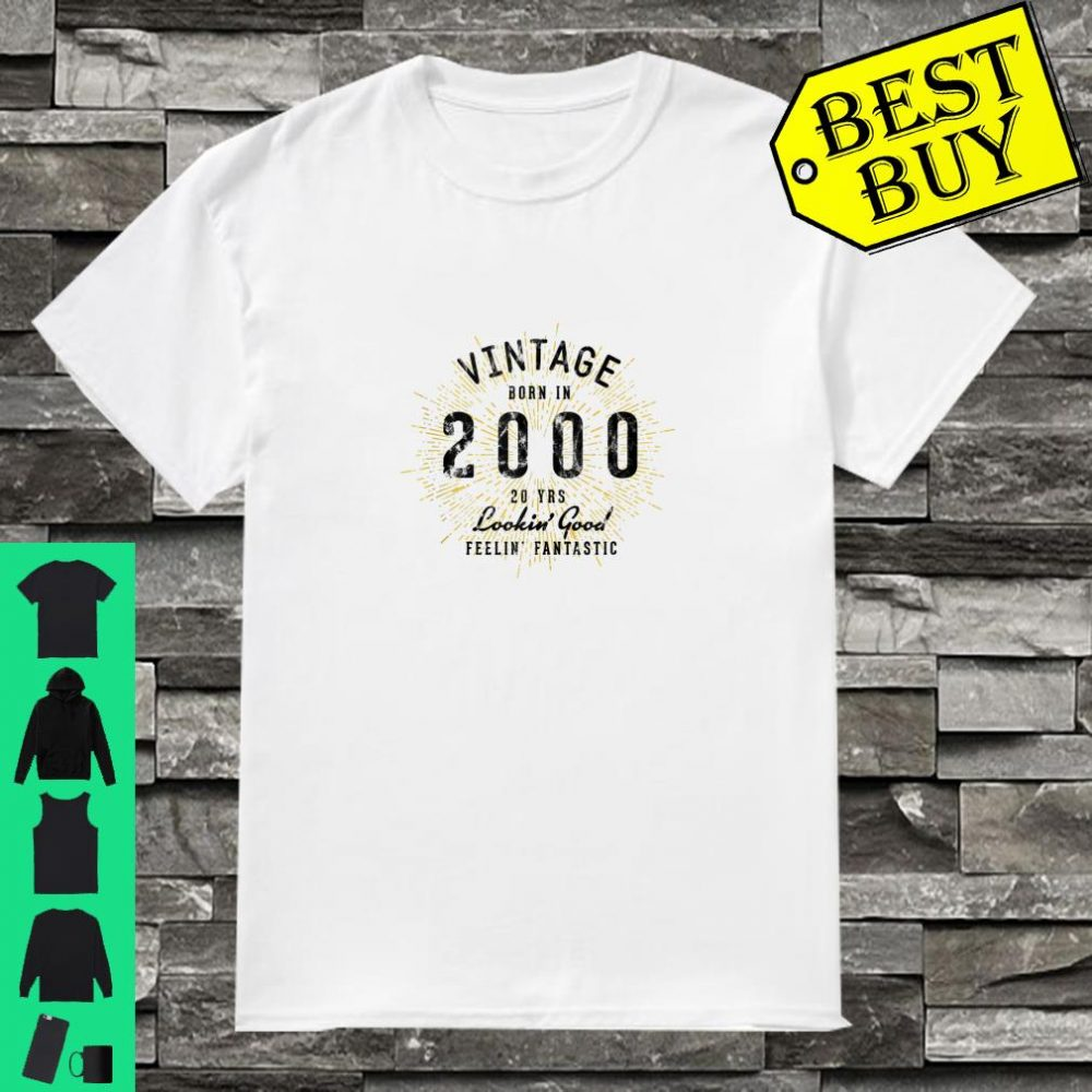 Vintage 20th Birthday Born in 2000 Shirt