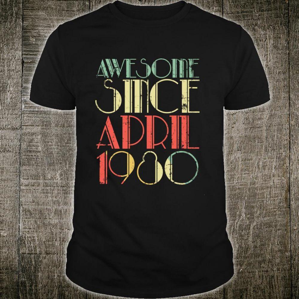 Vintage Awesome Since April 1980 40th Birthday Retro Shirt