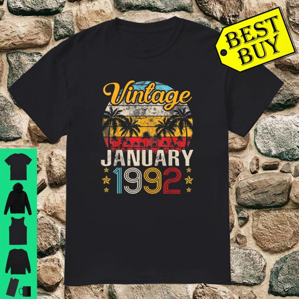Vintage Born In January 1992 Happy Birthday 28 Years Old Shirt