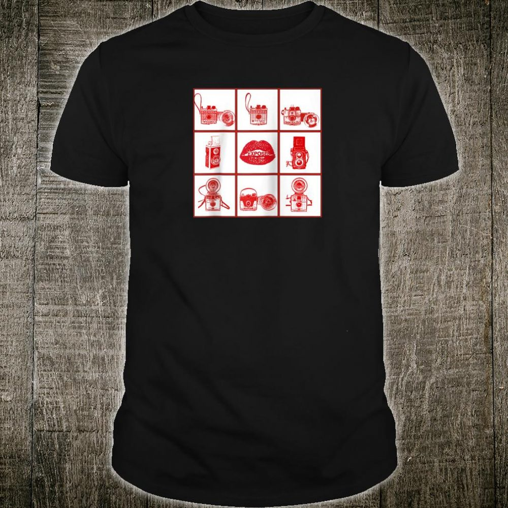 Vintage Camera Grid Red Shirt