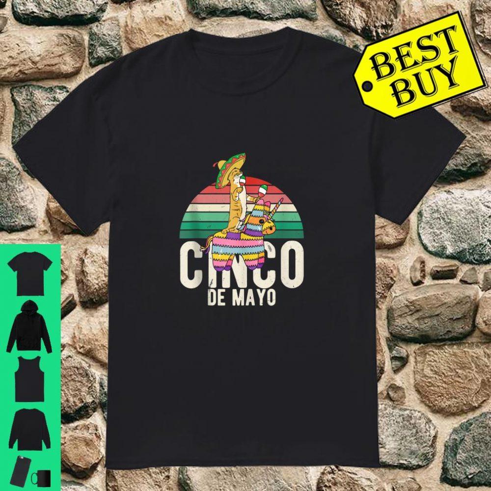 Vintage Cinco de Mayo Mexico Cat Pinata Sombrero Shirt